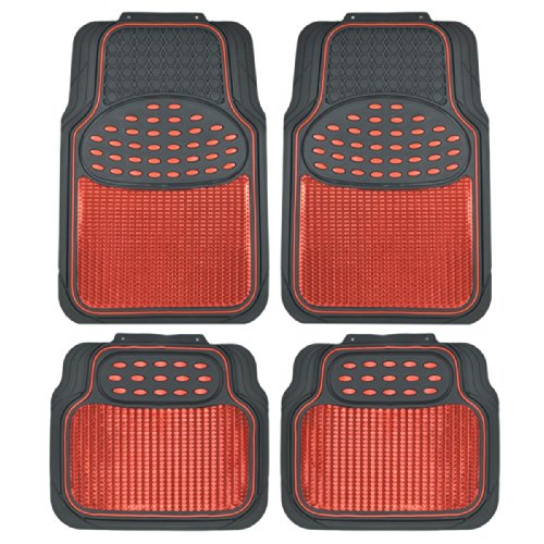 BDK Metallic Rubber Floor Mats for Car SUV & Truck - Semi Trimmable, 2 Tone Color (Red/Black) (2000 Honda Civic Floor Mats Oem compare prices)
