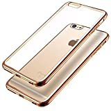 Ubegood iPhone6s/6ケース メッキ加工 弧状設計 超薄型 耐衝撃 クリアTPU ソフトカバー ゴールド