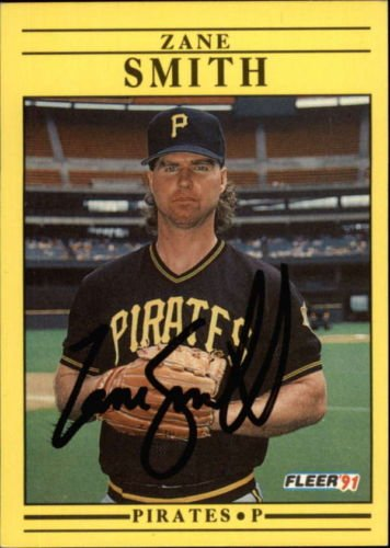 ZANE SMITH PIRATES SIGNED BASEBALL CARD 1991 FLEER #51 ID #41281