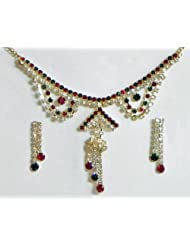 White, Maroon And Green Stone Studded Necklace And Earrings - Stone And Metal - B00K4F2CSO