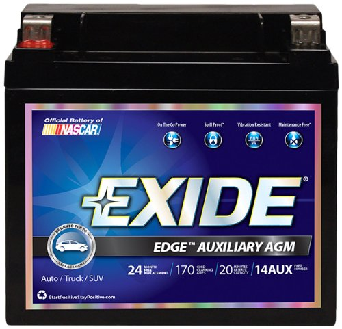 Exide edge 14aux agm auxiliary automotive battery for Mercedes benz auxiliary battery price