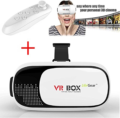 UbiGear 2nd Generation VR Box Virtual Reality Glasses Goggle Headset for 3D Movie Game with Bluetooth Remote Control