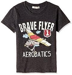 Fox Baby Boys' T-Shirt  (Black Melange_18-24 months_327563)