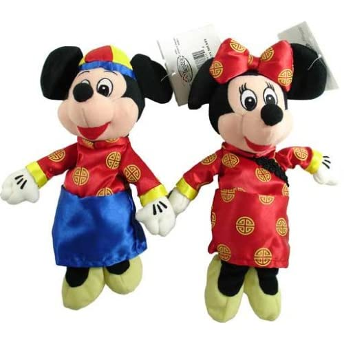 Disney Mickey & Minnie Mouse in Chinese Dress Beanie Plush Set