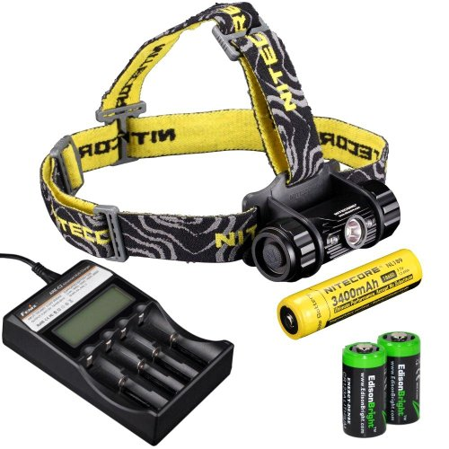Nitecore Hc50 565 Lumens Cree Xm-L2 Led Headlamp Genuine Nitecore Nl189 18650 3400Mah Li-Ion Rechargeable Battery, Fenix Are-C2 Intelligent Charger And Two Edisonbright Cr123A Lithium Batteries