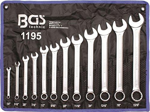 """BGS-technic - Set 12 chiavi combinate con misure in pollici da 1/4"""" a 15/16"""""""