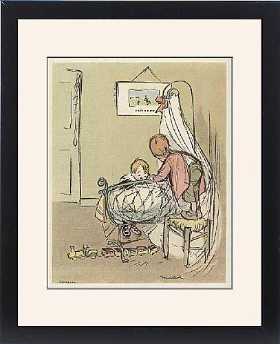 Framed Print Of Two Children Admire New Baby front-1004208