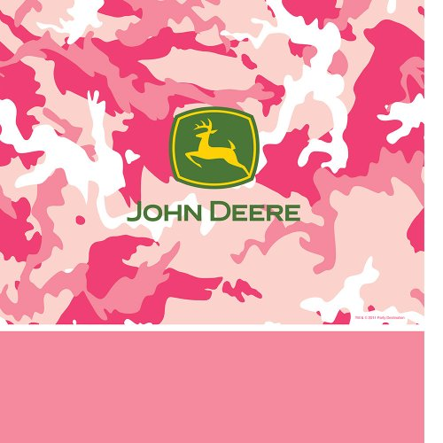 "Creative Converting 725526 Border Print Plastic Table Cover, 54 by 108"", John Deere Pink"