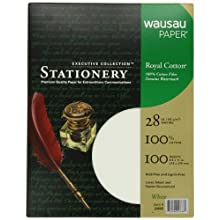 Wausau Paper Executive Royal Cotton Fine Business Paper, 100-Sheets, White, 8.5 x 11-Inch (29668)