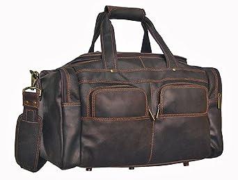 David King & Co Distressed Leather Multi-pocket Sport Duffel