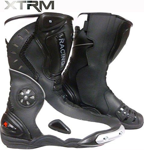 Stivali Moto - XTRM 705 Stivali da corsa, Urban Stivali Sportivi, Racing Scarpe, Armour Stivale, Nero Bianco (UK 7 / 41 EU)