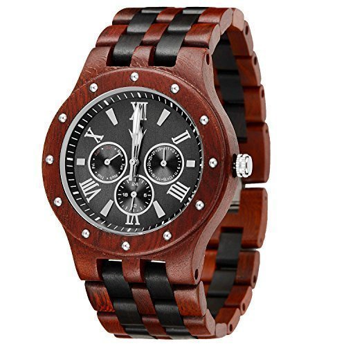 MEKU Men's Handmade Wooden Wrist Watch Natural Wood/Black Watch Valentine Gift / Father Day