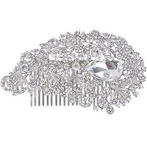 Ever Faith Silver-Tone Rhinestone Crystal Wedding Floral Vine Hair Comb Headpiece Clear N00398-2