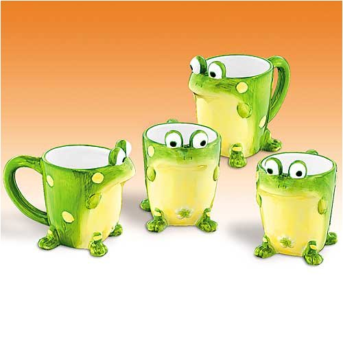 Set Of 4 Toby The Toad/Frog Mugs Collectible And Fun