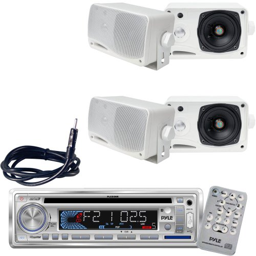 """Pyle Marine Radio Receiver, Speaker And Cable Package - Plcd3Mr Am/Fm-Mpx In -Dash Marine Cd/Mp3 Player/Usb & Sd Card Function - 2X Plmr24 2 Pairs Of 3.5'' 200 Watt 3-Way Water Proof Mini Box Speaker System (White) - Plmrnt1 22"""" Weather Resistant Radio Am"""