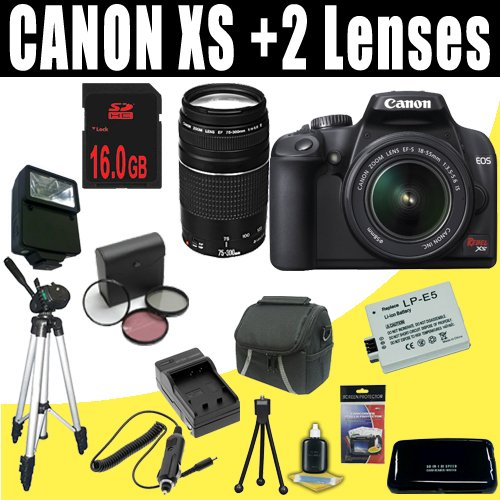 Canon Rebel XS 10.1MP Digital SLR Camera with EF-S 18-55mm f/3.5-5.6 IS Lens (Black) + Canon EF 75-300mm f/4-5.6 III Telephoto Zoom Lens + 16GB Deluxe Accessory Kit