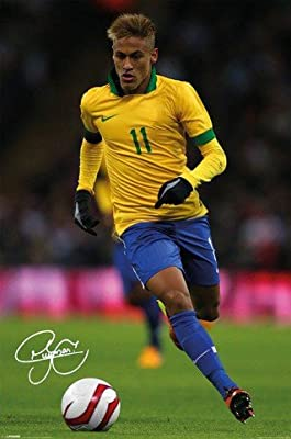 Posters: Soccer Poster - Neymar, Autograph (36 x 24 inches)