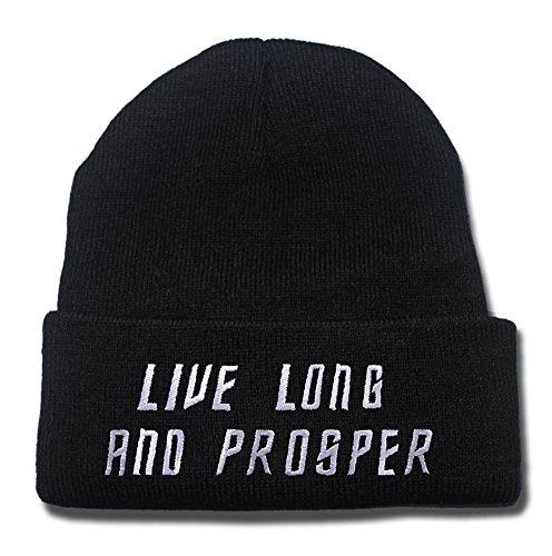RHXING Live Long Prosper - Star Trek Spock Vulcan Logo Beanie Unisex Embroidery Beanies Skullies Knitted Hats Skull Caps