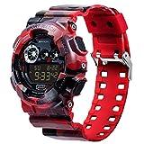 Sanda Mens Sports Digital Watch Waterproof LCD Light Camouflage Wristwatch - Red