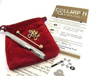 Gold Tone Collar Pin DIY Kit - Collar Bar plus 10 Eyelets & Punch by CUK Designs