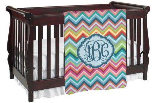 Retro Chevron Monogram Personalized Baby Blanket front-825582