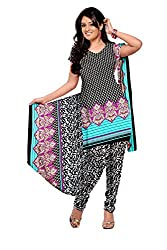 Ustaad Printed Cotton Dress Material-Black