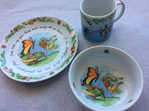 Monticello The Butterfly's Ball and Grasshopper's Feast 3 piece Childs Dish Set in Fine Poecelain (Baby Porcelain Dish Set compare prices)