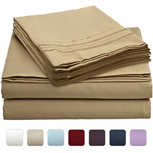 #1 Bed Sheet Set On Amazon - Super Silky Soft - Sale - Highest Quality 100% Brushed Microfiber 1800 Bedding Collections - Wrinkle, Fade, Stain Resistant - Hypoallergenic - Deep Pockets - Luxury Fitted & Flat Sheets, Pillowcases - Best For Bedroom, Guest R front-821578