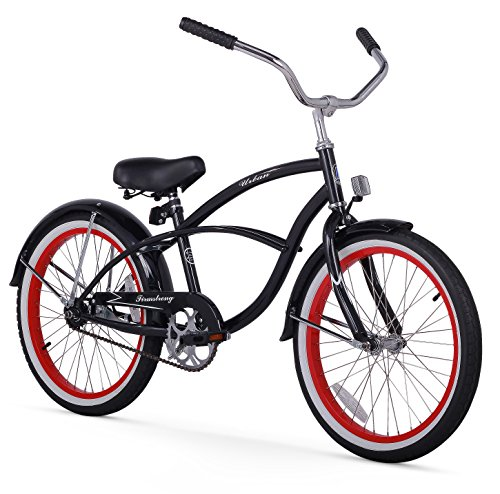 Firmstrong Urban Boy Single Speed Beach Cruiser Bicycle, 20-Inch, Black w/ Red Rims (24 Beach Cruiser Rims compare prices)