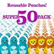 Squooshi Reusable Food Pouch | Super 50 Pack | Caps Included!