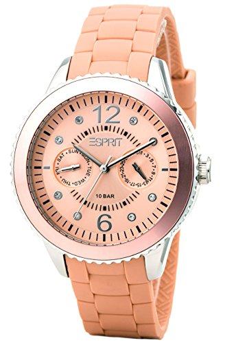 Esprit A.ES105332010 - Reloj analógico de cuarzo para mujer con correa de silicona, color naranja