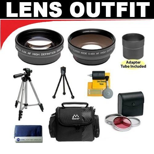 2x Digital Telephoto Professional Series Lens (58mm) + 0.45x Digital Wide Angle Macro Professional Series Lens (58mm) + 3 Piece Digital Camera Filter Kit + Adapter Tube + Deluxe Padded Carrying Case + Compact Digital Travel Tripod for Canon Powershot G7 G