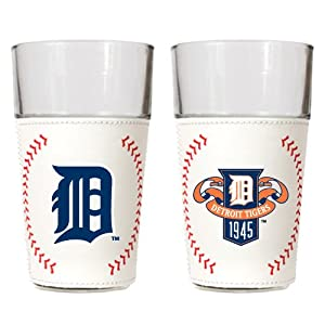 MLB Detroit Tigers Gameball Pint Glass Set (2-Piece), 16-Ounce by Great American Products
