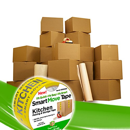 UBOXES 4 Room Basic Kit- 55 Moving Boxes & Packing Materials