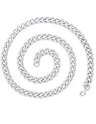 The Jewelbox Classic Curb Surgical Stainless Steel Rhodium Silver Plated Chain For Men