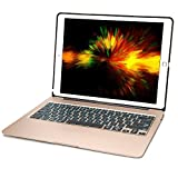 iEGrow iPad Pro 12.9 Keyboard Case, F07 7 Colors Backlit Slim Aluminum Bluetooth Keyboard with Protective Cover and 5600 mAh External Battery for iPad Pro12.9 Model A1584/A1652/A1670/A1671(Gold)