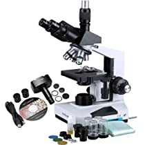 AmScope T490B-10MT Compound Trinocular Microscope, WF10x and WF20x Eyepieces, 40X-2000X Magnification, Brightfield, Halogen Illumination, Abbe Condenser, Double-Layer Mechanical Stage, Sliding Head, High-Resolution Optics, 110V, Includes 10.7MP Camera with Reduction Lens and Software