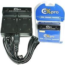 Ex-Pro® Sony NP-FV50, NPFV50, NP-FV70, NPFV70, NP-FV100, NPFV100 - Double (Deux piles) Chargeur de batterie rapide caméscope numérique pour charge Sony HDR-CX110, HDR-CX110E, HDR-CX115, HDR-CX115E, HDR-CX116, HDR-CX116E, HDR-CX150, HDR-CX150E, HDR-CX155, HDR-CX155E, HDR-CX170, HDR-CX170, HDR-CX300, HDR-CX300E, HDR-CX305, HDR-CX305E, HDR-CX350, HDR-CX350E, HDR-CX370, HDR-CX370E, HDR-CX505, HDR-CX505E, HDR-CX550, HDR-CX550E
