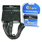 Ex-Pro® Sanyo DB-L50B, DB-L50, DBL50B, DBL50 - Dual (Twin) Battery Fast Charge Digital Camera Charger for Sanyo Xacti VPC-HD1000, VPC-HD1010, VPC-HD2000, VPC-FH1, VPC-TH1, VPC-WH1