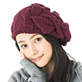 リボンニットベレー 帽子 ベレー ニット帽 レディース メンズ ニット 大きいサイズ 小顔 りぼん 秋 冬 ベレー帽【フリーサイズ-ボルドー】