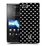 Head Case Designs Hearts Black and White Pattern Hard Back Case Cover for Sony Xperia J ST26i