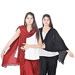 Kalrav Solid Maroon and Black Cotton Dupatta Combo