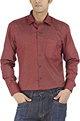 Silkina Men's Regular Fit Shirt (VPOI1509FRD, Red Print, 38)