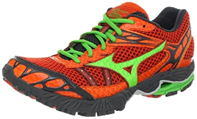 Mizuno Men's Wave Ascend 7 Running Shoe,Orange/Classic Green /Dark Shadow,7.5 D US