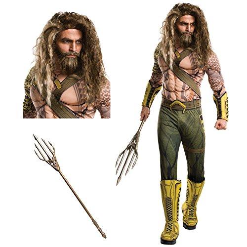 [Batman v Superman Dawn of Justice: Aquaman Deluxe Adult Costume Bundle Set - Standard] (Aquaman Halloween Costumes)