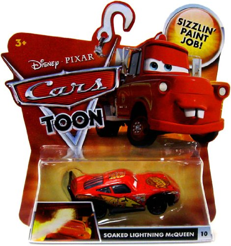 SOAKED LIGHTNING MCQUEEN #10 Disney / Pixar CARS 1:55 Scale Cars Toon Die-Cast Vehicle