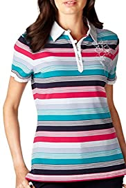 Per Una Pure Cotton Multi-Striped & Embroidered Polo Shirt [T62-2474I-S]