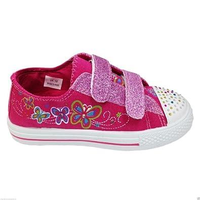 GIRLS CHILDREN LIGHT UP TRAINERS DIAMANTE CANVAS BOOTS PUMPS PLIMSOLL SHOES SIZE (UK 11 Kids / US 29, Fuchsia pink / Low Top Glitter Velcro)