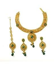 Jewbang Green White Kundan Colour Star Plus Necklace Set For Women