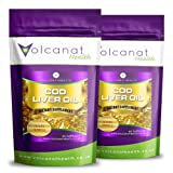 Volcanat Health Premium 2 x 60 Cod Liver Oil Capsules Dietary Supplement Pills Foil Pack